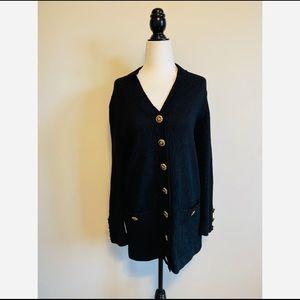 Vintage St. John Basic Black Cardigan Wool Gold